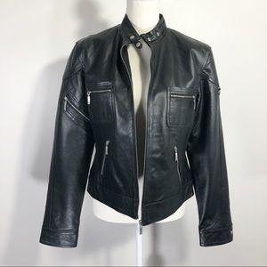 Vintage 90s Clio Black Leather Motto Jacket